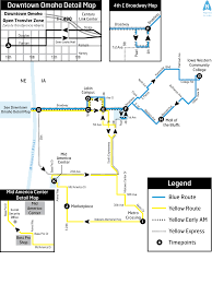 Megabus Route Map by Omaha Metro Blue Yellow Routes