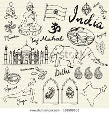 doodle indian set india icons doodle vectors stock vector 156588806