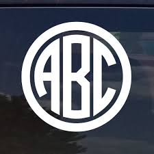 monogram initials custom circle monogram initials vinyl decal sticker