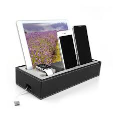 Smartphone Charging Station Black Pu Leather Docking Station For Cell Phone For Apple