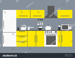 yellow modern kitchen big kitchen modern kitchen interior kitchen stock vector 292303826