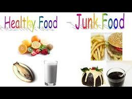 healthy food and junk food for preschool children and kindergarten