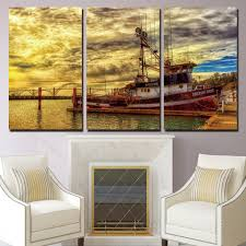 online get cheap picture fishing wall aliexpress com alibaba group 3 panels canvas art fishing boat bridge home decoration wall art painting canvas prints pictures for