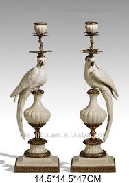 pair colorful porcelain parrots candle holder home decor bronze