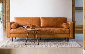 Narrow Leather Sofa Keaton Modern Leather Sofa Emerald Throughout Furniture