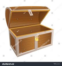wooden trunk vintage wooden chest open lid stock illustration 713959825