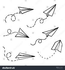 vector paper airplane travel route symbol stock vector 647953096