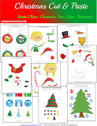 free christmas cut and paste worksheets for the holidays http