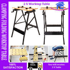 Keter Folding Work Table Bench Mate With 2 Clamps Folding Work Tressel Ebay