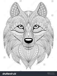 wolf head zentangle style antistress stock vector 475994020