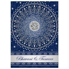 Silver Wedding Invitations Wedding Invitation Hindu Ganesh Blue Silver Scrolls Stars