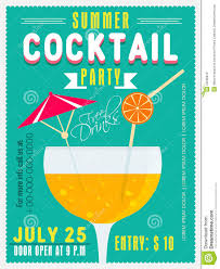 invitation card for summer cocktail party stock photo image