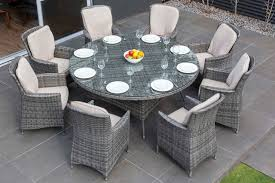 MODA Furnishings Outdoor Wicker Furniture Nassau  Seat Round - Round dining table with wicker chairs