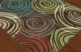 Orange Area Rug With White Swirls Brown Contemporary Circles Area Rug Modern Geometric Swirls Multi