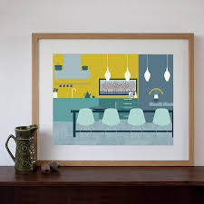 mid century modern dining room art print dining room art mid