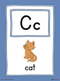 letter c word list with illustrations printable poster color