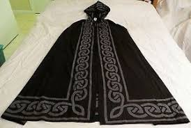 ritual cloak pentagram w celtic knot cloak cape black gray pagan wicca ritual