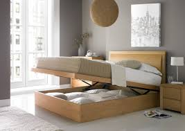 Wooden Ottoman Bed Frame Bedroom Furniture Design Featuring Beige Ottoman