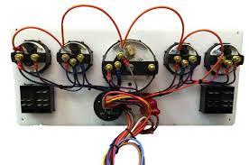 white yanmar marine instrument panel with 4 rocker switches white