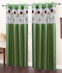 Eyelet Curtains Homefab India Set Of 2 Door Eyelet Curtains Solid Green Buy
