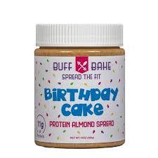 buff bake birthday cake almond butter protein spread 19 95
