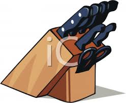 clipart picture of a kitchen knife holder