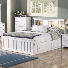 lang shaker queen bookcase bed with under bed drawer storage and