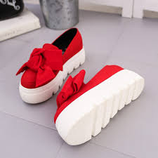2017 autumn new women shoes bowtie muffin heavy bottomed