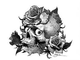 tattoo flash skull and roses by tikos on deviantart