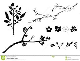 cherry tree branch silhouette illustration 54501368 megapixl