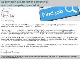 Sample Resume For Accounts Payable Specialist by Accounts Payable Specialist Recommendation Letter