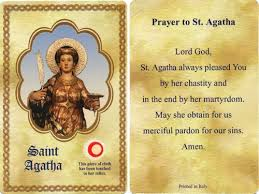 prayer card center agatha holy card with 3rd class relic