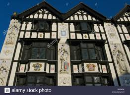 wooden timber framed tudor style buildings in the market place
