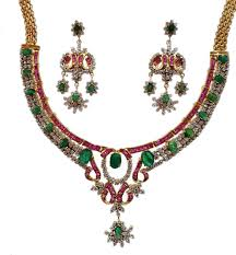 ruby necklace earrings images Exclusive ruby emerald and cz necklace earrings in silver gleam jpg