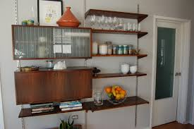 Kitchen Storage Shelves by L Shaped White Stained Oak Wood Three Tier Wall Shelves With Half