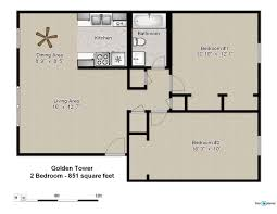 2 Bedroom Plans by Floor Plans Of Golden Tower Apartments In Evansville In