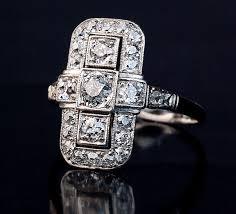 art deco diamond platinum white gold ring 1920s antique jewelry