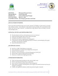 Food Service Job Description Resume by Server Job Description Resume Resume For Your Job Application