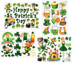 party city halloween window clings amazon com st patrick u0027s day window clings decals kit home u0026 kitchen