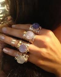 round wire rings images Raw druzy round wire wrap rings more zuk nftige projekte jpg