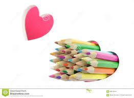 Concept Damour Crayons De Couleur Coeur De Deux Amours Fond Blanc