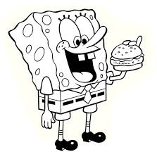 printable cartoon spongebob eating hamburger coloring page free