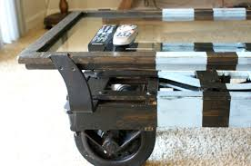 fabulous industrial coffee table on wheels for classic home
