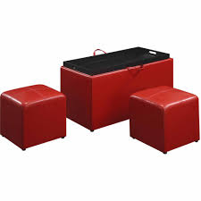 Ottomans by Designs4comfort Faux Leather Storage Bench With 2 Side Ottomans