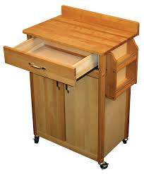 catskill craftsmen butcher block cart with flat doors and