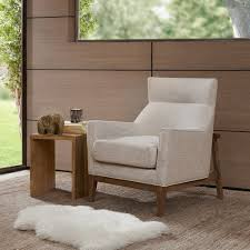 Comfortable Accent Chair Low Off White Slat Back Armless Accent Chair