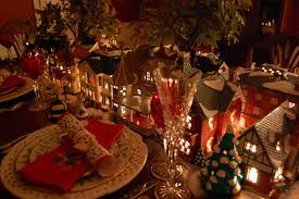 dining room table setting for christmas christmas table setting tablescape with dept 56 lit houses and