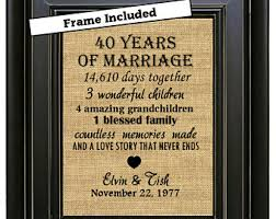40th anniversary gifts for parents framed personalized 6th wedding anniversary gift 6th