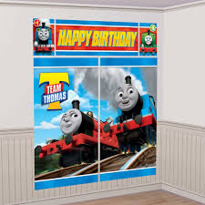 thomas the train birthday party supplies theme party packs thomas the train all aboard scene setter