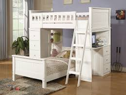 Loft Bed With Couch White Metal Girls Bunk Bed With Blue Futon - Girls bunk bed with desk